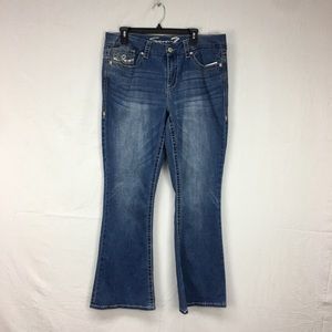Seven7 Medium Wash Sequin/Embroidered Jeans